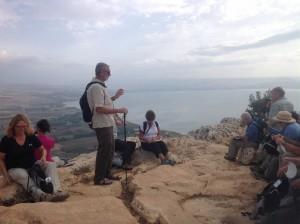 George Teaching at Mt. Arbel Overlooking the Sea of Galilee