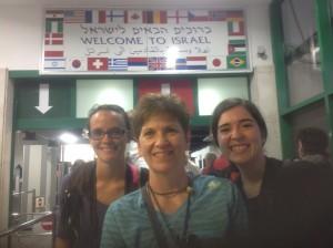 Sarah, Jane, and Marina at the Egypt/Israel border crossing.